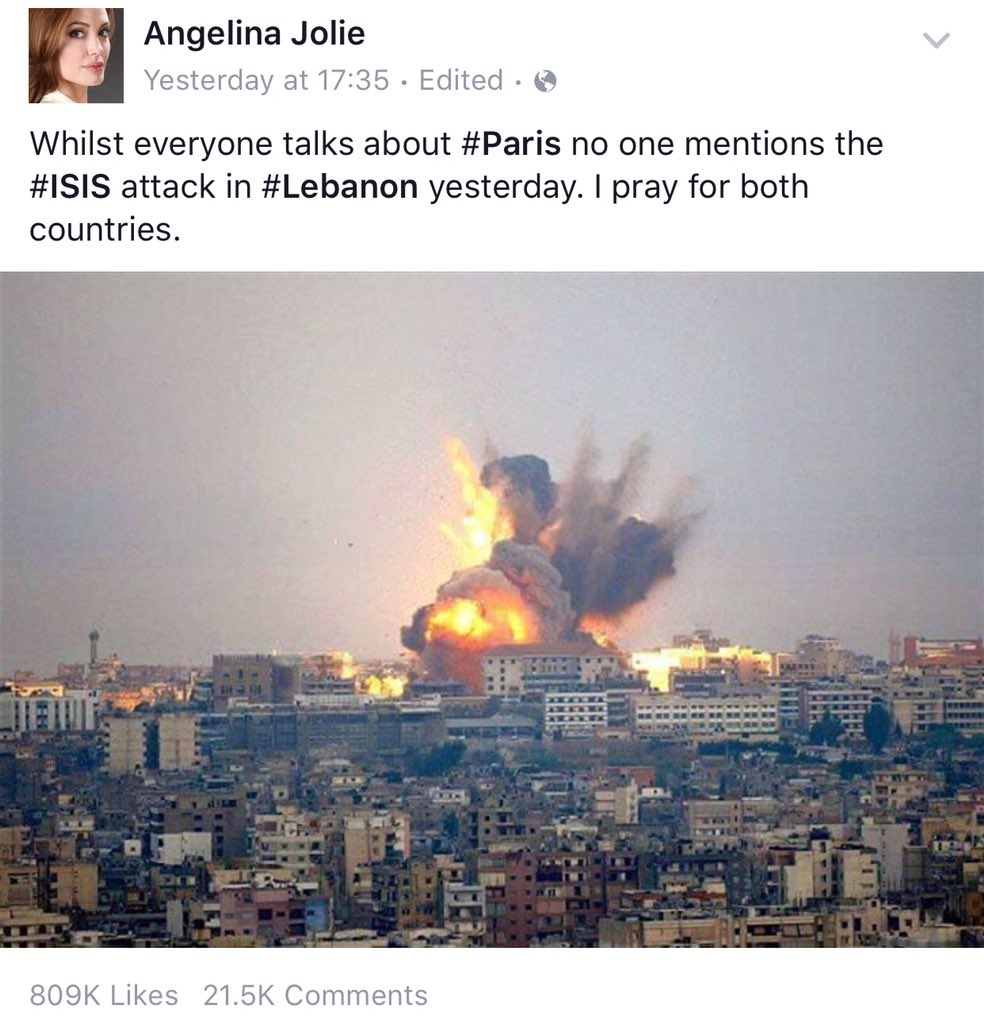 "Angelina Jolie ""Whilst everyone talks about #Paris no one mentions the #ISIS attack in #Lebanon yesterday."" https://t.co/xYiQOuC4BW"