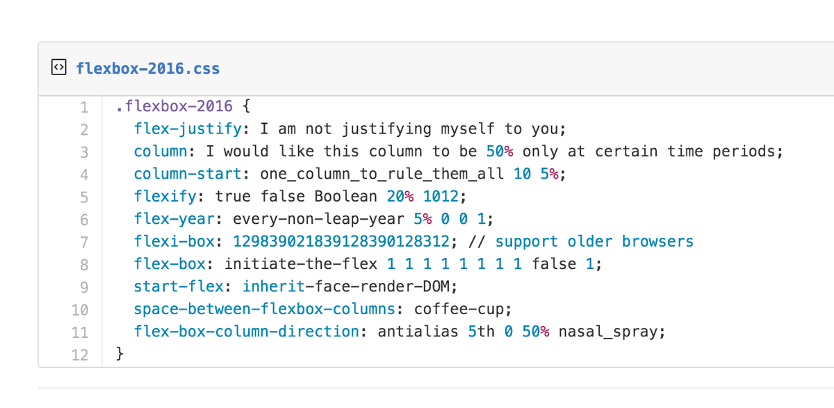 This is what it's actually like writing flexbox. https://t.co/HMs3TuAQIA
