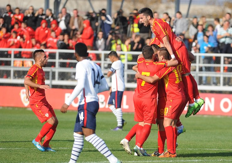Macedonia U21 after the first goal; photo: Republika