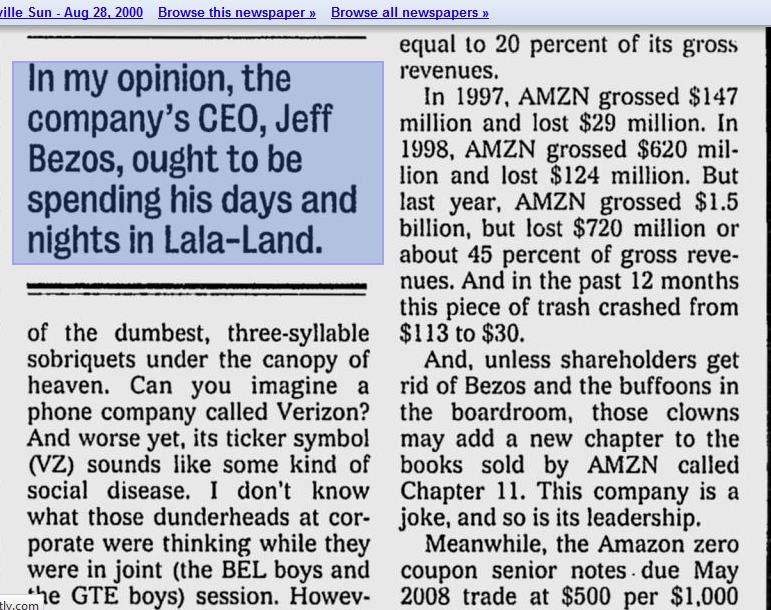 Doubters on Amazon go back to .com bubble. They were right in a bear market, very wrong long term.