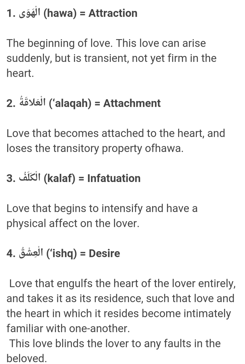 Different stages of love