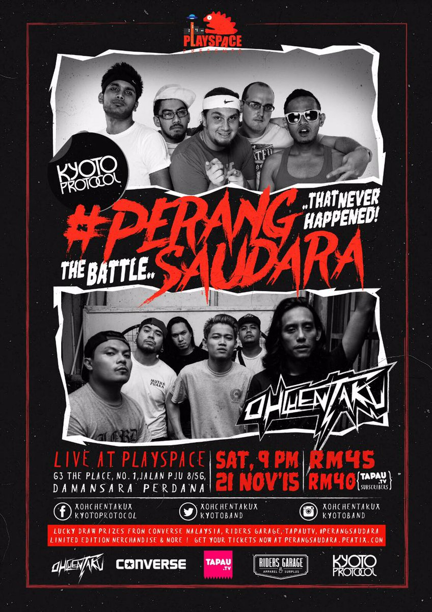 For all you #VersusMY fans, out there, this gig is a must: #PerangSaudara  We finally take on @xohchentakux! https://t.co/kyEER9bVDI
