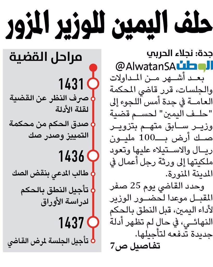 أخبار السعودية On Twitter حلف اليمين للوزير المزور لحسم قضية صك أرض السعودية التزوير المحكمة Https T Co Crnx6hjyqj