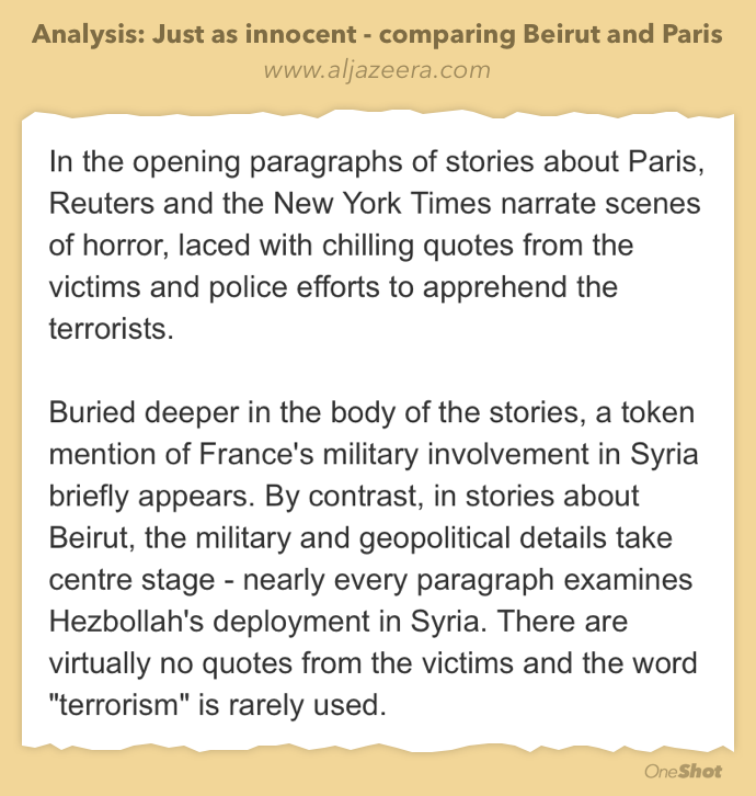 "An intelligent take by @habib_b on the ""people cared more about Paris than Beirut"" genre.  https://t.co/KPZAa6gegn https://t.co/R4SA2J2lCD"