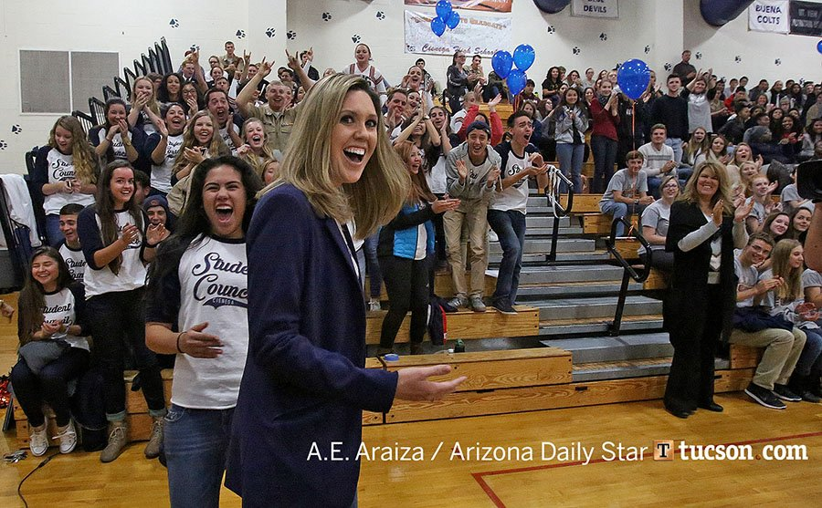 Brittany Matsushino of #Cienega HS was awarded a $25K Milken Educator Award for innovative teaching. #Tucson