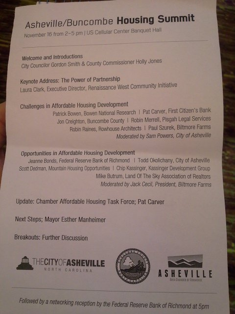 Thumbnail for Nov. 16 Asheville Affordable Housing Summit