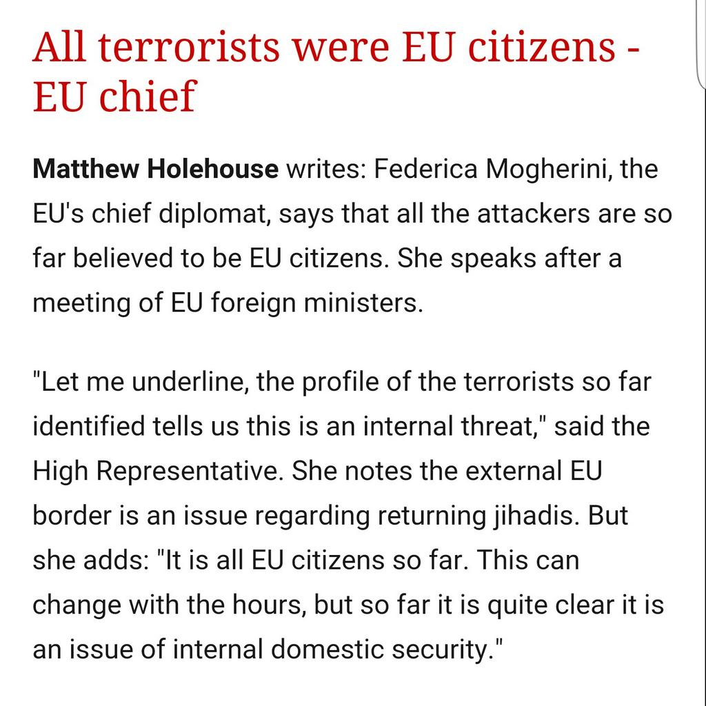 IMPORTANT: Mogherini says: ALL attackers were EU citizens as far as we know