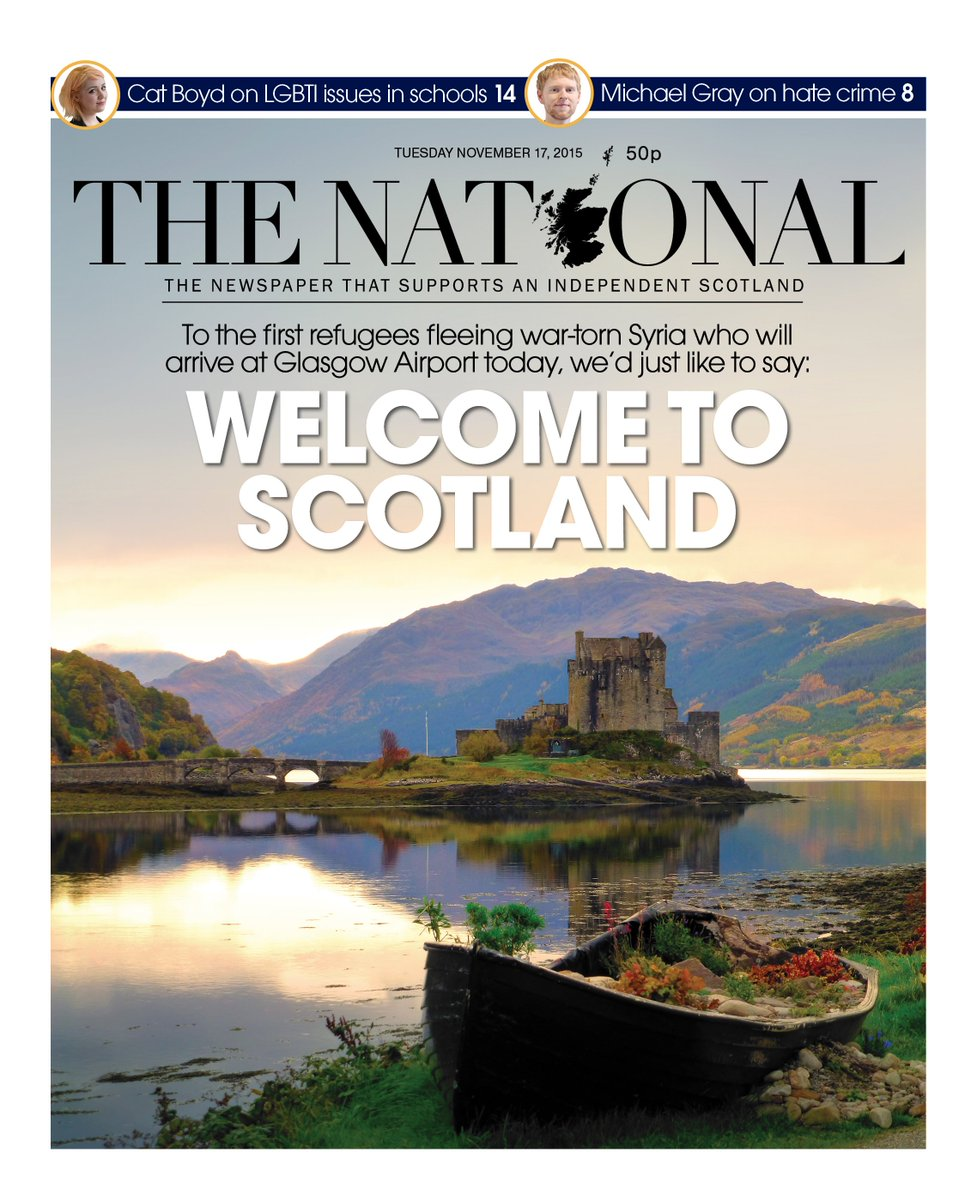 Our front page: As the first Syrian refugees arrive in Scotland tomorrow, we'd like to offer them a warm welcome https://t.co/1zZ7fazcbS