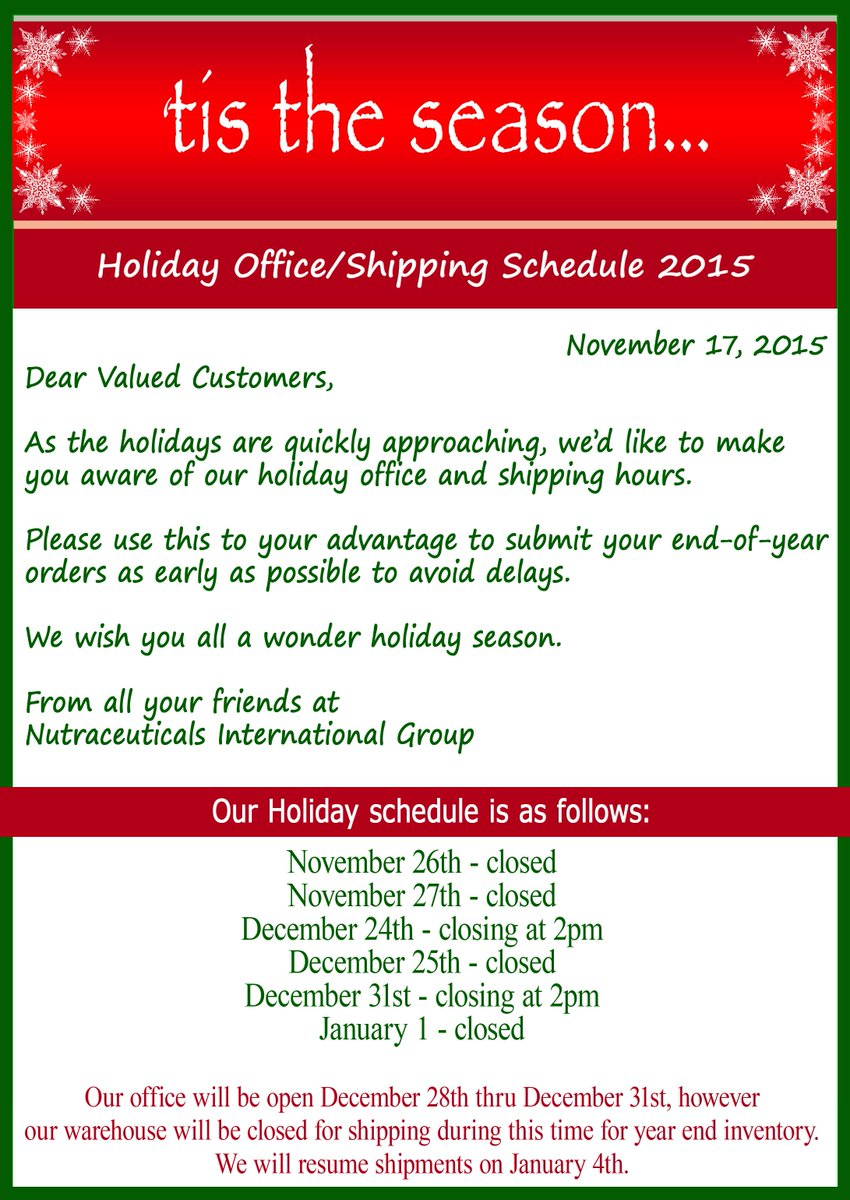 Nutraceuticals Group On Twitter Holiday Office And Shipping Hours Tco LJoWeEgKJL