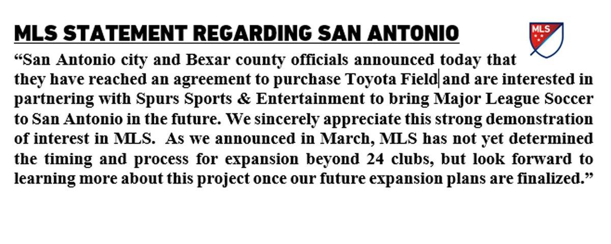 MLS statement regarding today's news in San Antonio. https://t.co/ewtuEnzBcp
