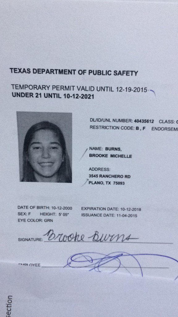 Dru burns on twitter when brookemburns131 is under 21 for Texas temporary drivers license template