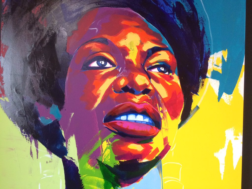 Working on a commissioned Nina Simone. I did the background  first this time. #art https://t.co/4L0udl7lu2