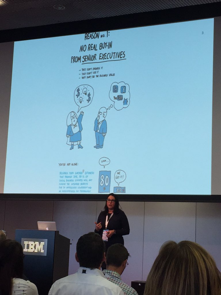 No real buy-in from senior executives into enterprise social networks says @silviacambie #soccnx https://t.co/DoNnu5czym