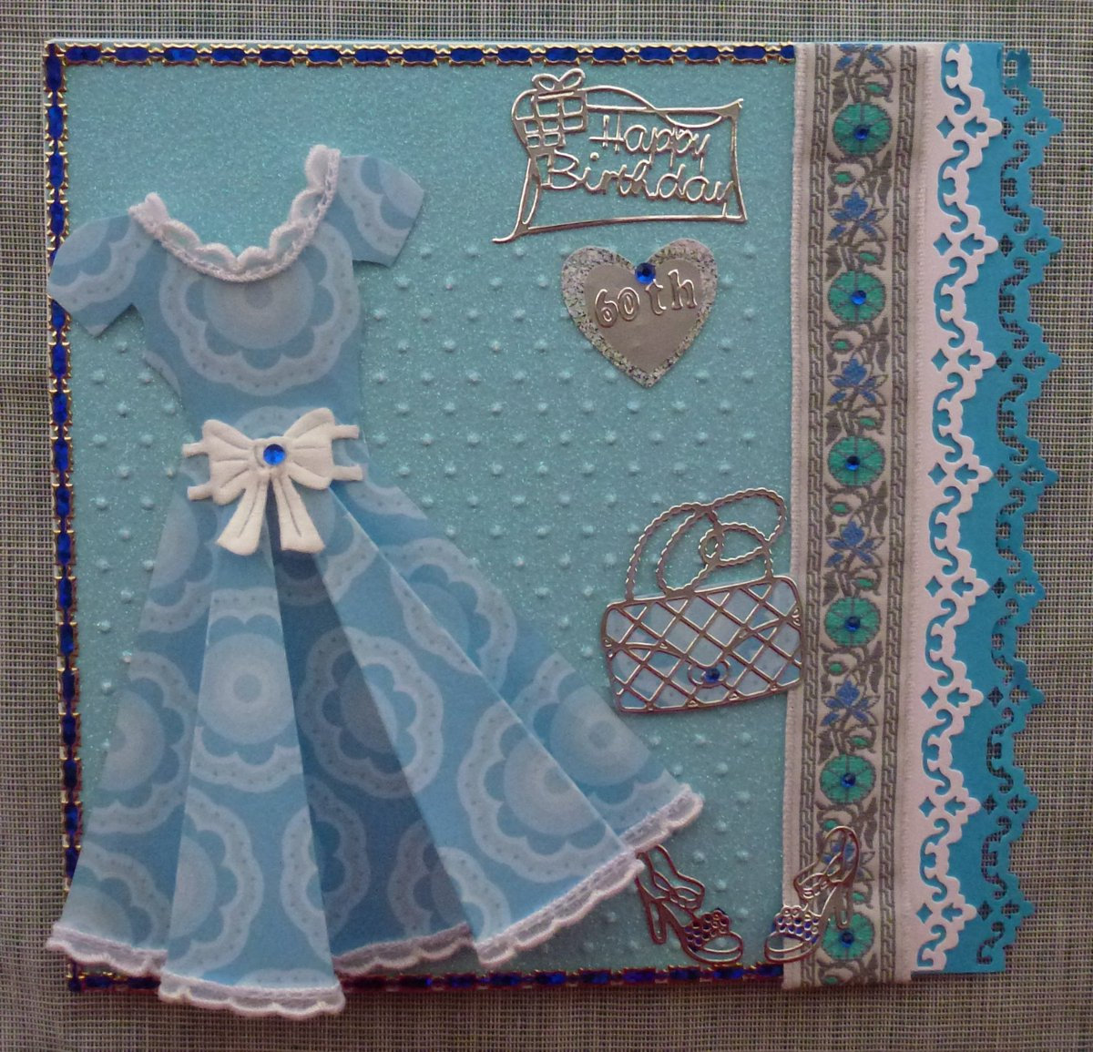 Sabina Caruso On Twitter New Design Of 60th Birthday Card Handmade For A Friend Hand Cut The Paper Embossed Punched Out Side Panel