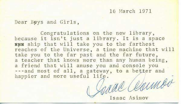 Wonderful letter from Isaac Asimov congratulating a school on the opening of its new library. https://t.co/8aLhsRY66U