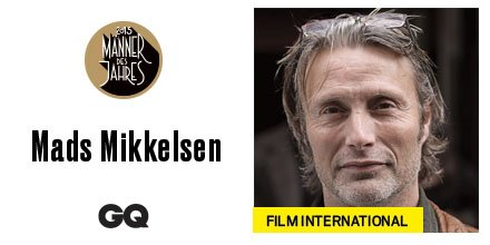 """The best export from Europe to Hollywood: #MadsMikkelsen receives the #GQAward """"Film International"""" #mdj15 #GQAwards"""