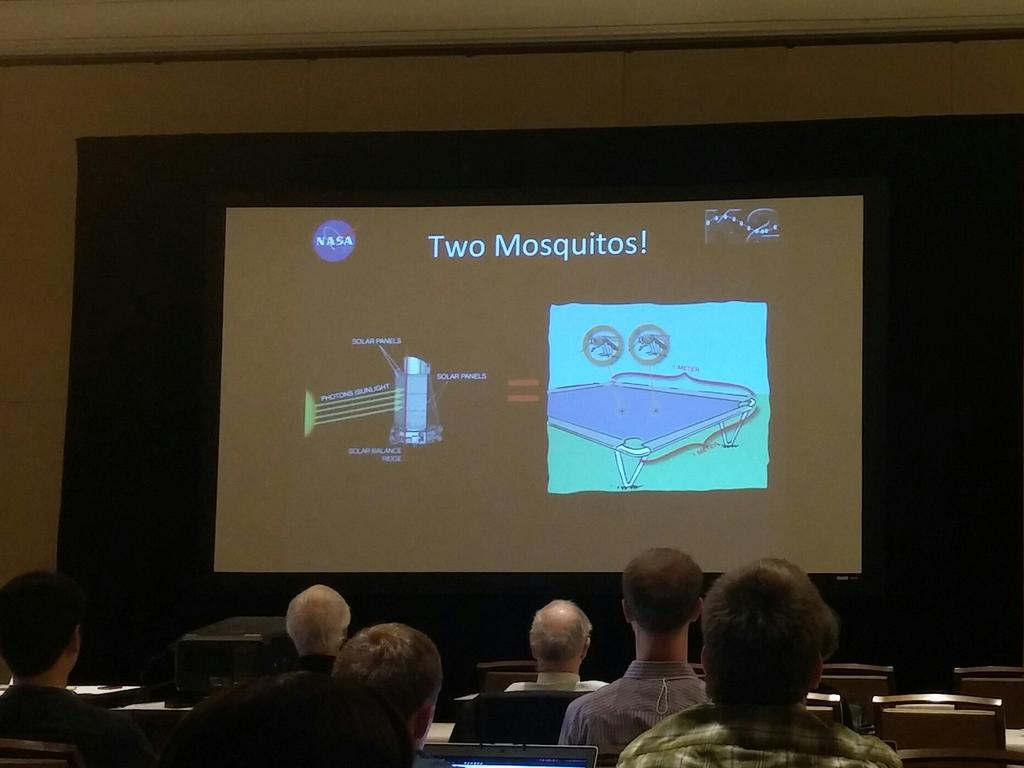 Howell: solar pressure on Kepler is equivalent to the force exerted by two mosquitoes on a 1 m² table. #K2SciCon https://t.co/kxZf6NreWG