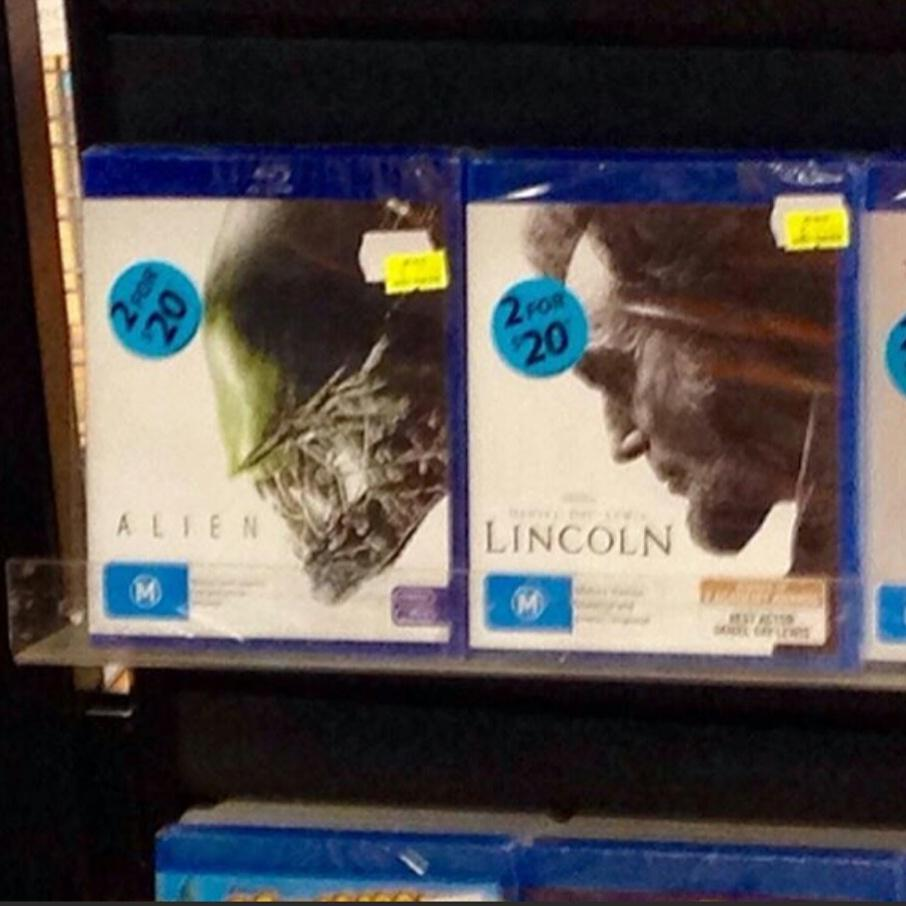 RT @halrudnick: ALIEN and LINCOLN have same DVD cover. https://t.co/bqO4xYMffM