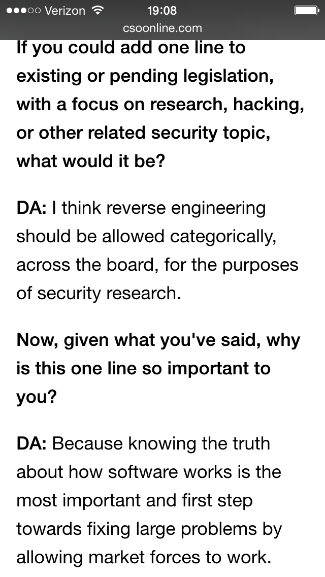 So @daveaitel really nailed it here. Reverse engineering is essential for informing consumers. https://t.co/SH1cR1IthD