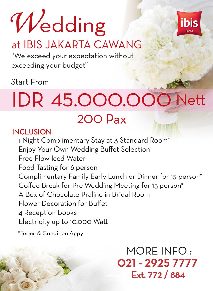 Ibis Jakarta Sentral Cawang On Twitter Book Now And Get Special Price For Your Wedding Day Ibis Jakarta Cawang Https T Co Bbrcwgmksy