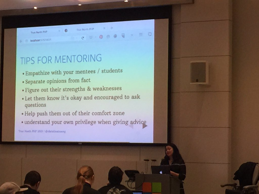 Tips for mentoring from @christinatruong at #tnphp15 https://t.co/jXrggfh8zO