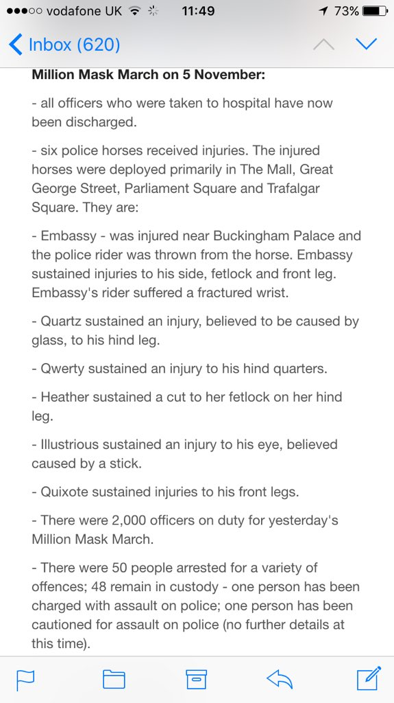 6 police horses injured during #MillionMaskMarch - details here https://t.co/Qe64br7hIN