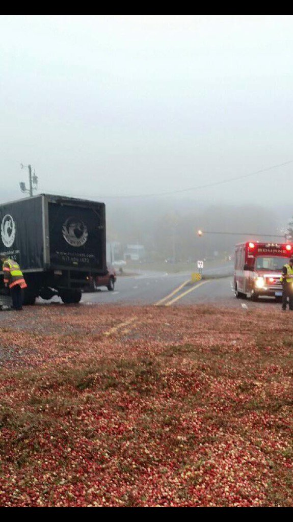 Cranberry truck crashes on Rte 6, dumps cranberries everywhere. This is the most New England traffic accident ever. https://t.co/wZ1VZO1rbM