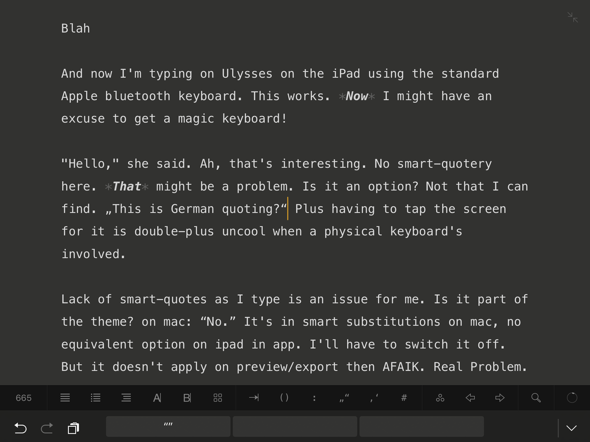 Ulysses on twitter strangernoise you can long press the quote button to swap the quote style