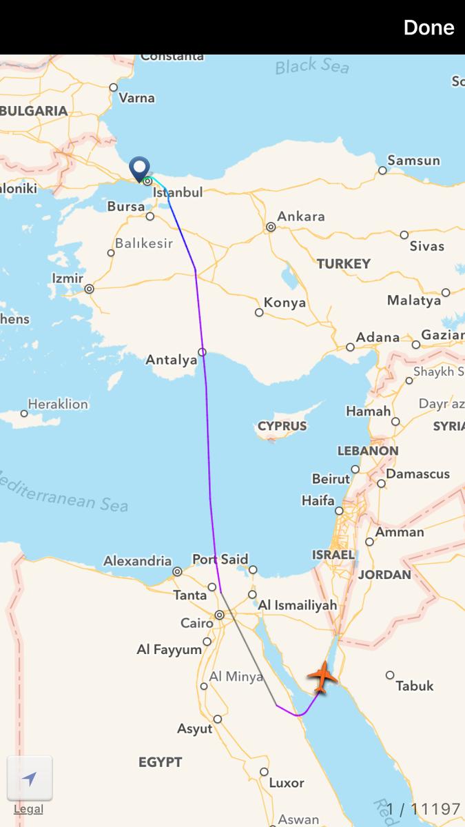Gregor Peter on Twitter Turkish jet Istanbul Amman flight path