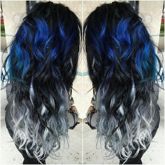 Best Out Of Waste On Twitter Blue And Silver Ombre Hair Color