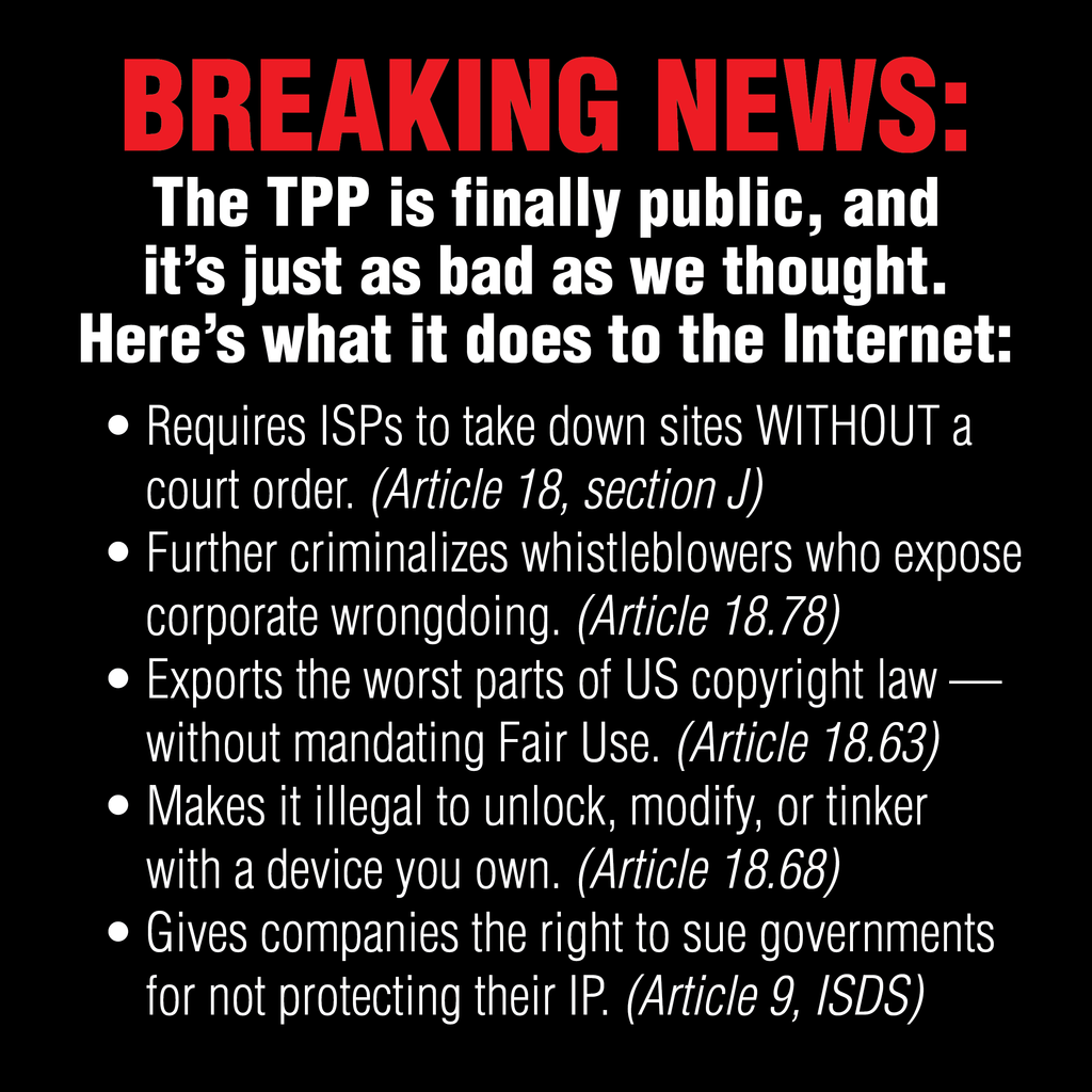 #TPP text has finally been released. Here's how it impacts your Internet freedom https://t.co/JCsq35Omu2 https://t.co/hoMQzYM3k7 @idltweets