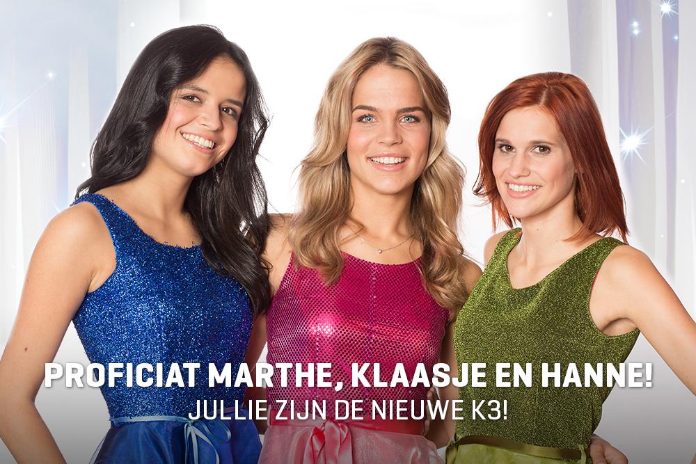 Marthe, Hanne en Klaasje vormen de nieuwe K3, proficiat! #K3zoektK3 https://t.co/8yWxgajtws