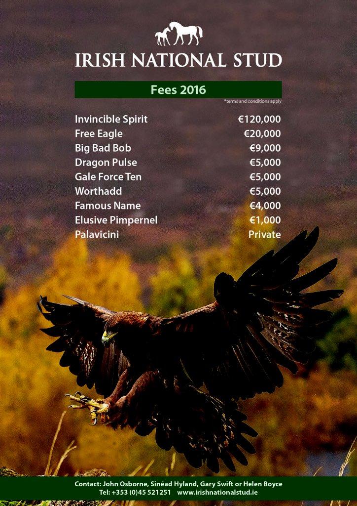 Irish National Stud 2015 aşım ücretleri