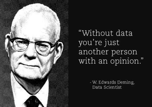 Without data, you're just another person with an opinion - W. Edwards Deming #datascience #datasci #data #bigdata https://t.co/UuGvVdYDHT
