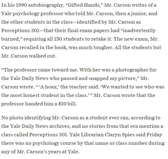 """In WSJ: Ben Carson says he was named """"most honest"""" in a Yale class that didn't exist. https://t.co/IFnaxc0VbL https://t.co/AYqig0H2GX"""