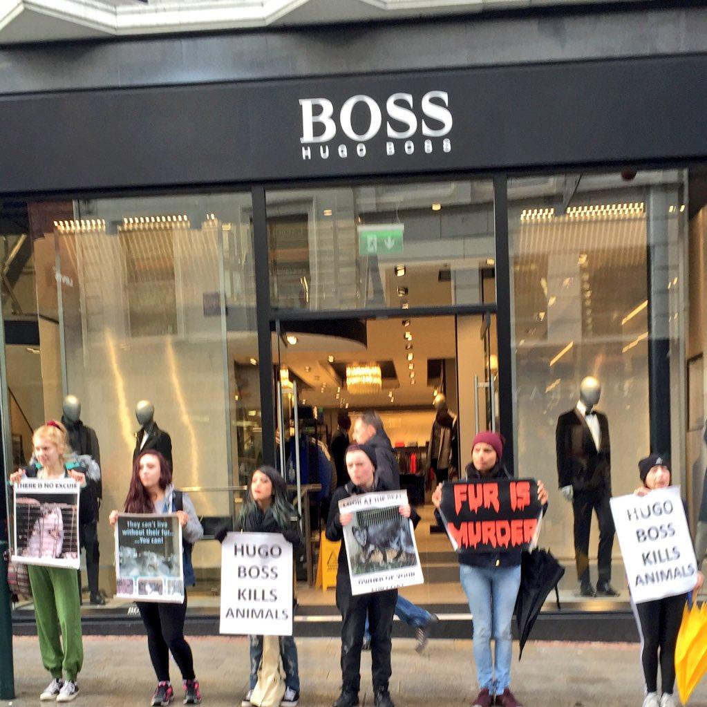 afd8d3628efe Animal rights protestors picketing Hugo Boss on Grafton st   dublinpic.twitter.com QKQWzGlFfC