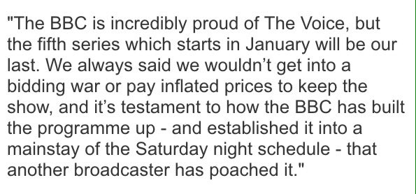 BBC confirms it has lost The Voice UK to ITV. Statement from acting director of television Mark Linsey. https://t.co/fqKzpKibzz
