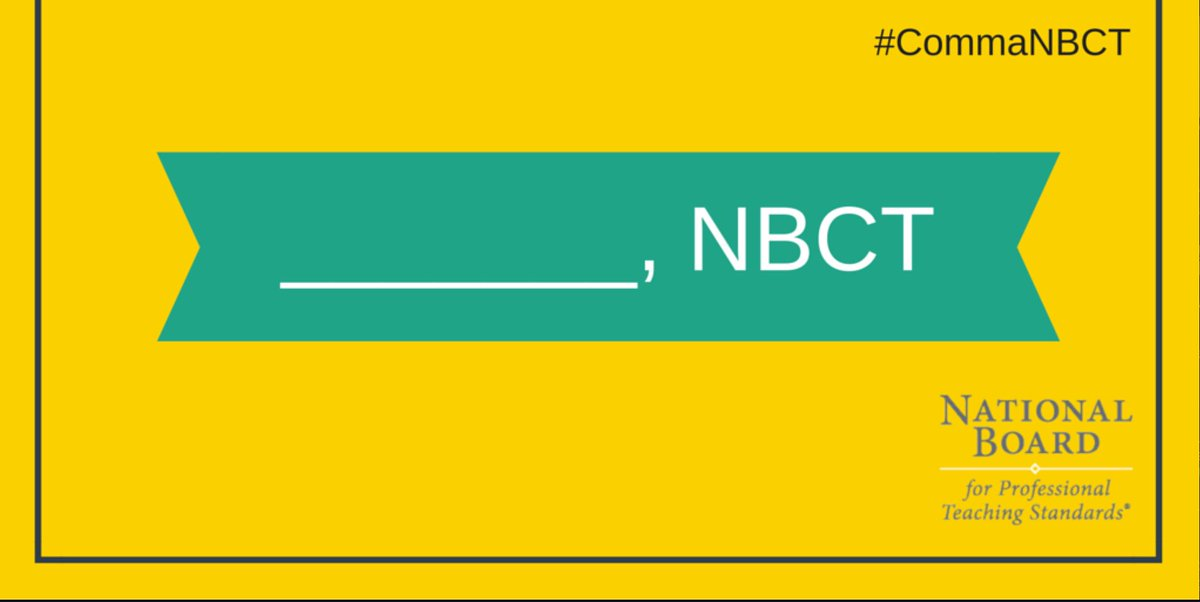 "Retweet if you're adding "" , NBCT"" to your signature today! #commaNBCT #NBCTstrong via @joefdoctor https://t.co/UO8Xt39myv"