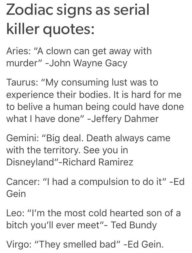 On Twitter Zodiac Signs As Serial Killer