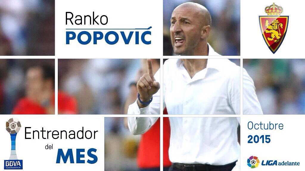 サラゴサの監督であるランコ・ポポヴィッチさんが、マルカ紙の選ぶ10月最優秀監督に選ばれたそうです。ポポさん、スペインで評価されてるんすね! https://t.co/8GSl5aAfve