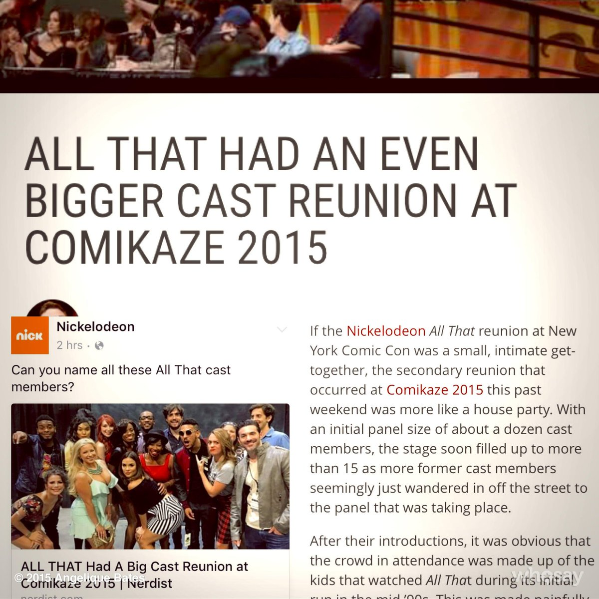 Congrats to @StanLeeComikaze for the biggest #AllThatReunion yet. #Comikaze15 #90sAreAllThat @NickelodeonTV https://t.co/54Ml4OFMbJ