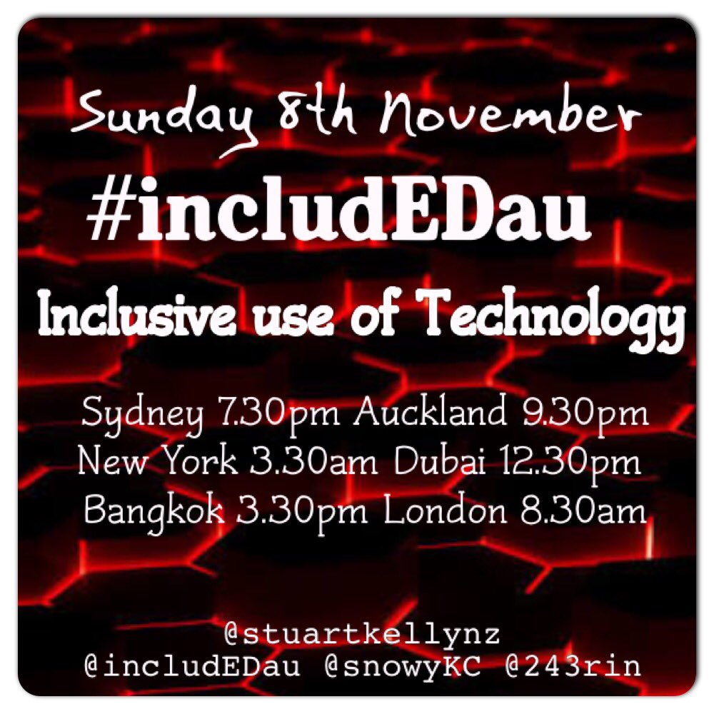 In just over 30mins be #includEDau with @stuartkellynz @SnowyKC @243Rin . #aussieED #asiaEd #SpEdSC #digitaledchat https://t.co/F0ByVS3mNB