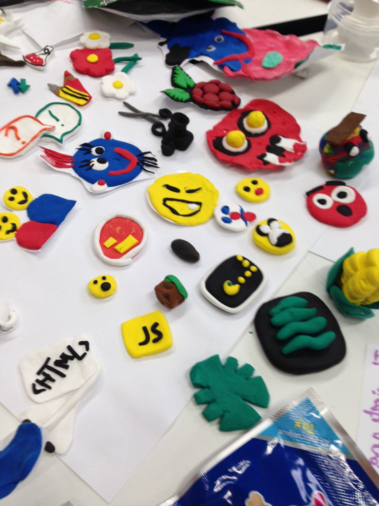 Some of the creative clay emojis created for a digital Rosetta Stone. #mozfest2015 #aadigital https://t.co/OQ9qfUArTg