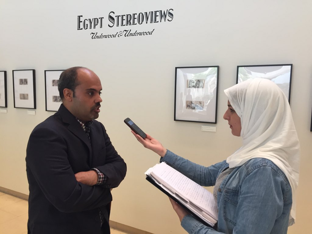 "Reporter Noura Shibl in action with Dr. Omar on ""Egypt Stereoviews."" #JRMC2202 #auc https://t.co/TdVuS5P0G8"