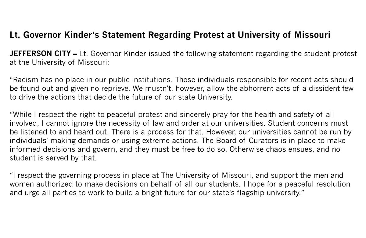 My statement on the protests at the University of Missouri. https://t.co/ZOtvFyM8CI