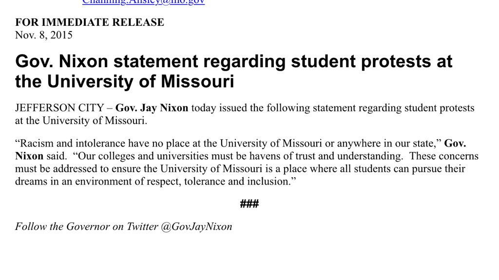 JUST IN: Missouri Governor Jay Nixon issues statement on student protests at #Mizzou @ksdknews https://t.co/YY0kFPm0Ch