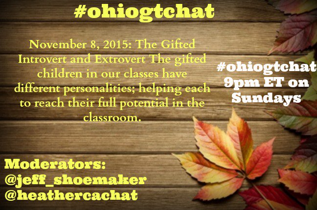 Thumbnail for #ohiogtchat : November 8, 2015 Gifted Introverts / Extroverts