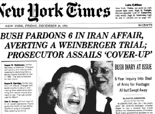24 Dec 1992 GH Bush pardons 6 Reagan White House operatives convicted in Iran - Contra Affair selling guns to Iran. https://t.co/tjKBFfUJla