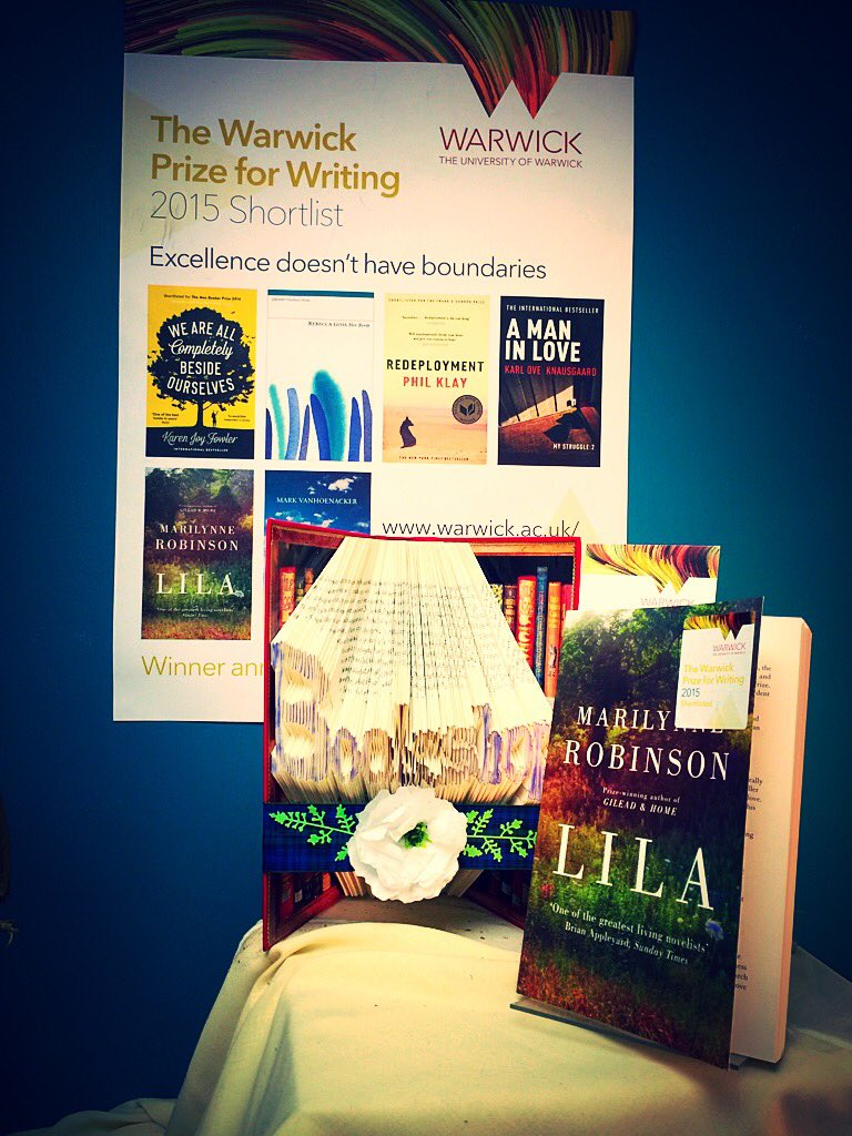 Lila, Marilynne Robinson @ViragoBooks & #Bookart in our display of light and colour for @WarwickPrize #warwickprize https://t.co/2DBhfARjd7