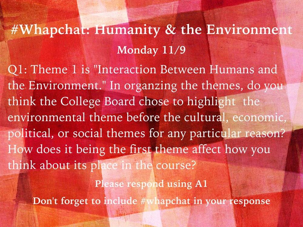 Thumbnail for #WHAPchat: Humanity and the Environment